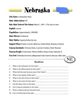 Nebraska State Information & Worksheet