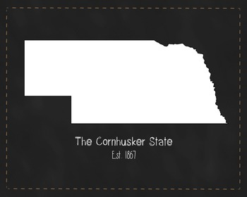 Nebraska State Map Class Decor, Government, Geography, Black and White Design