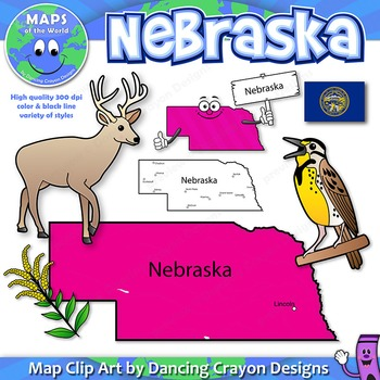 Nebraska State Symbols and Map Clipart