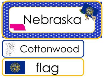 Nebraska State Word Wall Bulletin Board Set. Geography Curriculum.