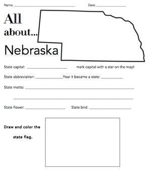 Nebraska State Worksheet: Elementary Version