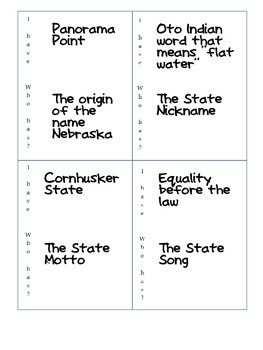 Nebraska Statehood Day I Have, Who Has? Fact Game