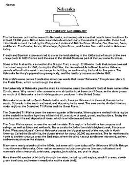 Nebraska Text Evidence and Summary Assignment