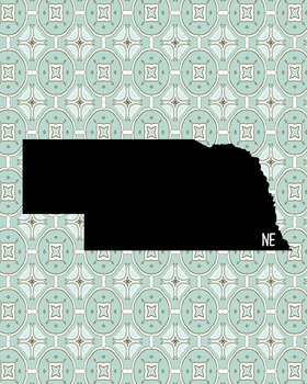 Nebraska Vintage State Map or Poster Class Decor, Classroom Decoration