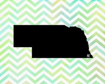 FREEBIE! Nebraska Chevron State Map Class Decor, Government, Geography