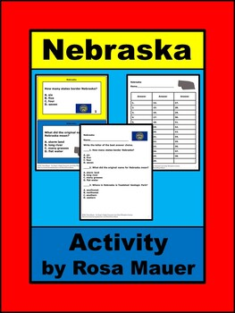 Nebraska state Facts Task Cards for Social Studies History