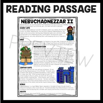 Nebuchadnezzar Reading Comprehension Worksheet, Mesopotamia, Babylonian Empire