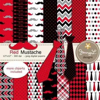 Neckties and Mustaches Digital Papers and clipart