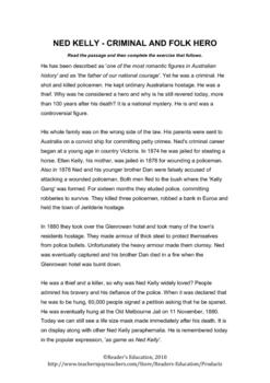 Ned Kelly Criminal and Folk Hero - Reading Comrehension