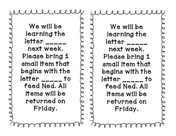 Ned's Head Letter of The Week Activity