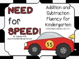 Math Facts - Need For Speed Kindergarten Addition and Subtraction Fluency