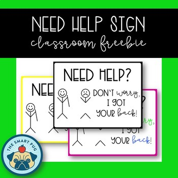 Need Help Sign - Back to School Freebie