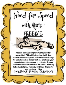 Need for Speed with ABC's Freebie!