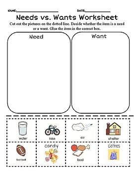NEEDS and WANTS BINGO Game! Social Studies for Kindergarten and First