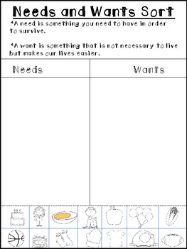 image about Free Printable Needs and Wants Worksheets named Desires And Requires Type Freebie!