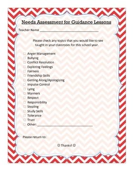 Needs Assessment for Guidance