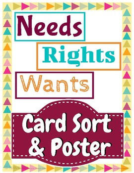 Needs, Rights, and Wants Poster & Sort