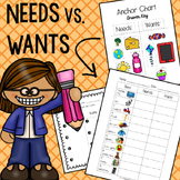 Needs Vs. Wants Color-In Worksheet and Anchor Chart Template