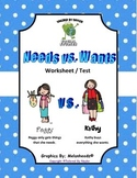 Needs Vs. Wants Test / Worksheet