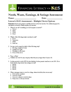 Lesson 10, 11, & 12: Needs, Wants, Earning  & Saving Money Assessment