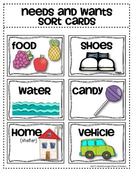 Needs and Wants Sorting Cards {Social Studies for Young Students}