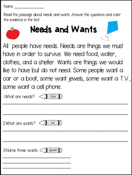 Needs and Wants Close Reading Passages and Activities