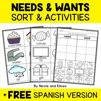 Needs and Wants Sort Activities