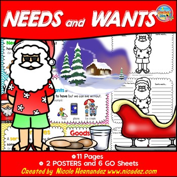 Needs and Wants - What Santa Needs and Wants {Simple Posters}