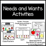 Needs and Wants Activities (Posters, Read and Write the Room, + Cut/Glue Sort)