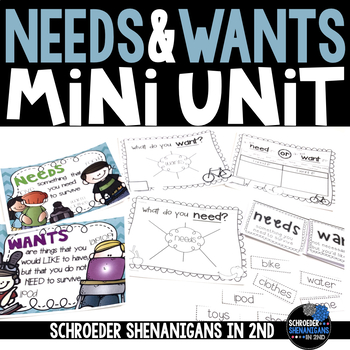 Needs and Wants flip flap resources, anchor charts, and graphic organizers