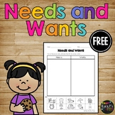 Needs and Wants Cut and Paste Worksheet for K, 1, and 2
