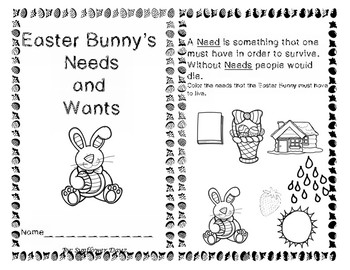 Needs and Wants Easter Activities Reader