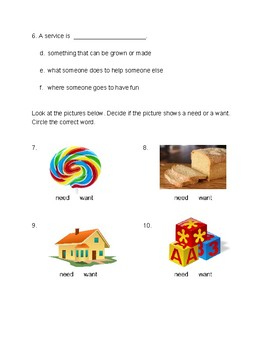 Needs and Wants / Goods and Services Test