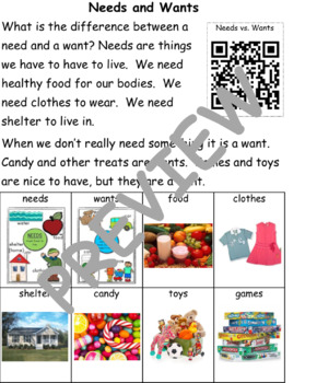 Needs and Wants: Informational Text and Writing Activity