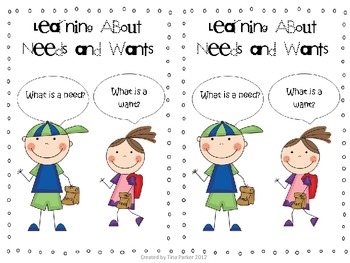 Needs and Wants Mini Book by Tina Parker   Teachers Pay Teachers