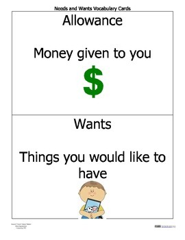 Needs and Wants ~ Personal Financial Literacy