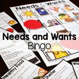 Needs and Wants Social Studies Economics Bingo Game