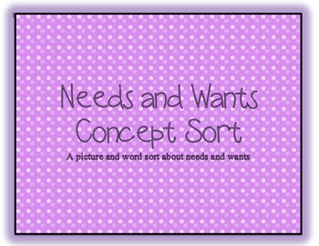 Needs and Wants Sort