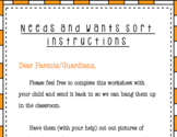 Needs and Wants Sort and Parent Letter Instructions
