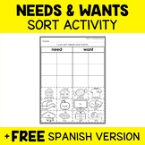 Needs and Wants Sort Activity