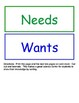 Needs and Wants Sorting Activity