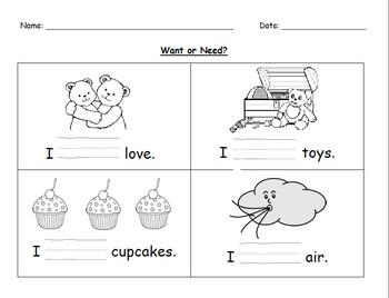 Needs and Wants Worksheets