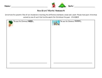 Needs and Wants for Christmas Lesson