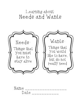 Needs and Wants workbook lesson
