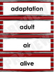 Needs of Animals and Plants Word Wall Words- Editable