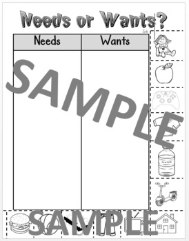 Needs or Wants Sorting Page