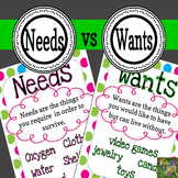 Needs vs. Wants - Mini Posters and Worksheets