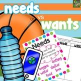 Needs vs. Wants - Mini Posters and Worksheets- Printable o