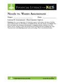 Lesson 10: Needs vs. Wants Assessment