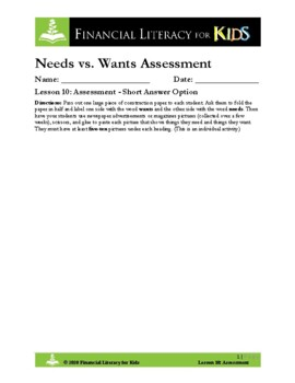 Lesson 10: Needs vs. Wants Assessment